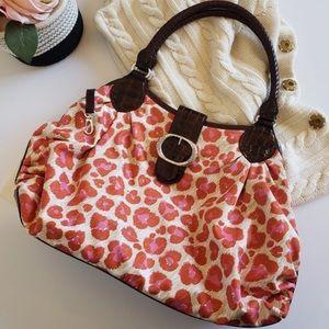 Brighton Leopard Print Nylon/Leather Handbag